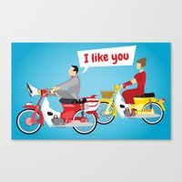 pee wee Canvas Prints featuring Pee-Wee and Dottie by SoSam