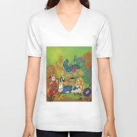 alice wonderland V-neck T-shirts featuring Wonderland by joanniegelinas
