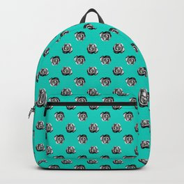 Grey/Turquoise Halftone Roses Pattern Backpack