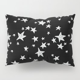 Linocut black and white stars outer space astronauts minimal Pillow Sham