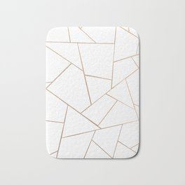 Rose Gold White Geometric Glam #1 #geo #decor #art #society6 Bath Mat