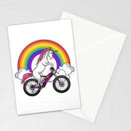 Unicorn Riding Bicycle Cycling Rainbow Stationery Cards