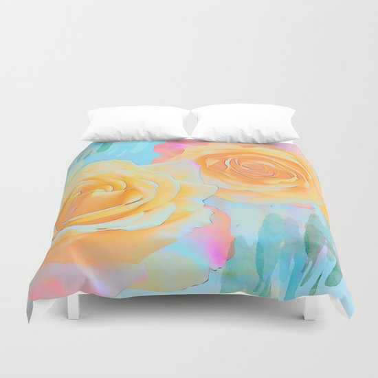 Pastel roses on an abstract water colour background Duvet Cover
