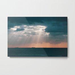 Shafts of light breaking through the clouds. Bondi Beach. Sydney Australia. Metal Print