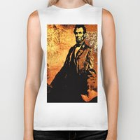 lincoln Biker Tanks featuring Abraham Lincoln by Saundra Myles