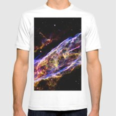 Colorful Galaxy : Veil Nebula Mens Fitted Tee MEDIUM White