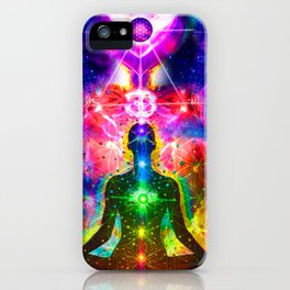 Ohm Chakra Cosmic Psychedelic Yoga Meditation  iPhone Case
