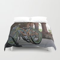 bikes Duvet Covers featuring Bikes by Photaugraffiti