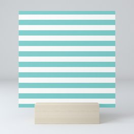 Horizontal Aqua Stripes Mini Art Print
