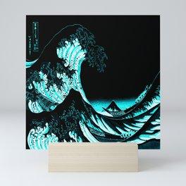 The Great Wave : Dark Teal Mini Art Print