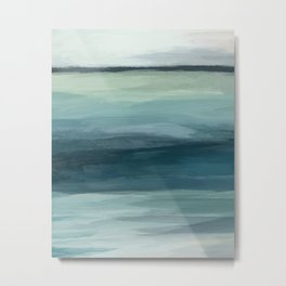 Seafoam Green Mint Navy Blue Abstract Ocean Art Painting Metal Print