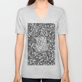 Black and white marble texture 7 Unisex V-Neck