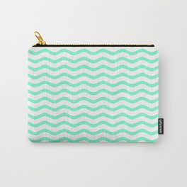 Aquamarine and White Chevron Wave Carry-All Pouch