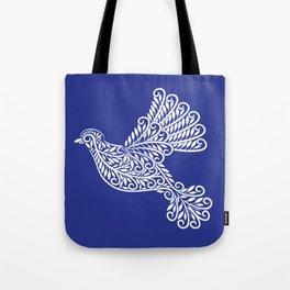 Peace, Dove, White on Blue Tote Bag