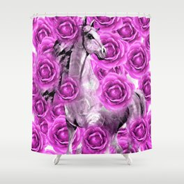 WHITE HORSE AND PINK ROSES Shower Curtain