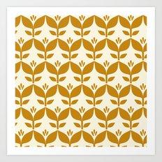 Golden retro tulip floral Art Print