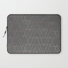 Modern rose gold geometric triangles blush pink abstract pattern on grey cement industrial Laptop Sleeve