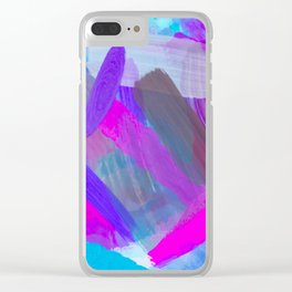 pink brown purple blue painting abstract background Clear iPhone Case