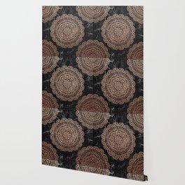 Mandala - rose gold and black marble 2 Wallpaper