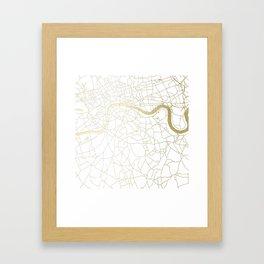 White on Yellow Gold London Street Map Framed Art Print