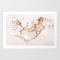 bride Art Prints featuring bride by Shiri Ashkenazi