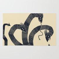hydra Area & Throw Rugs featuring hydra(dark) by Louis Roskosch