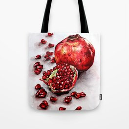 Red pomegranate watercolor art painting Tote Bag
