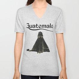 Guatemala Tikal Quetzal Chapin Guate Antigua Peten Maya Puchica Gift Retro Unisex V-Neck