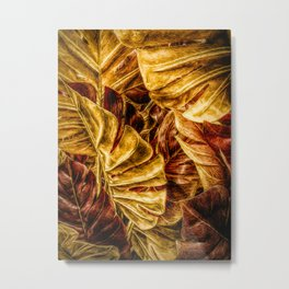Painted Autumn Monstera palm leaves by Brian Vegas Metal Print