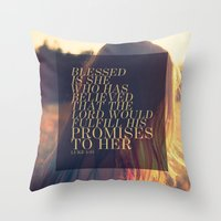 pocketfuel Throw Pillows featuring BELIEVE by Pocket Fuel