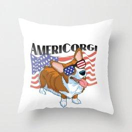 Corgi Patriotic American Flag Sunglasses Throw Pillow