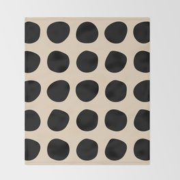 Irregular Polka Dots black and cream Throw Blanket