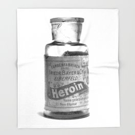 Vintage Heroin Medicine Bottle Throw Blanket
