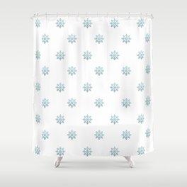 Blue Glitter Snowflake Shower Curtain