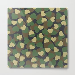 Heart Camo WOODLAND Metal Print