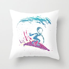 Alien Pizza Space Galaxy Zeta Alien Face T-Shirt Throw Pillow
