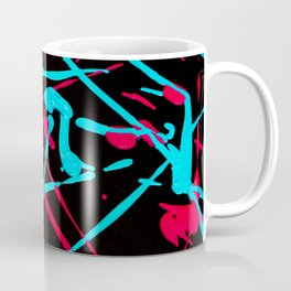Acrylic Eighties Grafitti Splats and Splashed Neon Coffee Mug