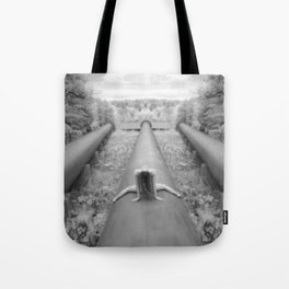 0925-LP Industrial Nature Nude Woman Straddling Massive Hydro Pipe Tote Bag