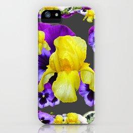 YELLOW IRIS PURPLE & WHITE PANSY GARDEN ART iPhone Case