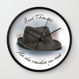 Hat for Leonard Cohen Wall Clock
