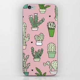 Pastel pink cactus home garden botanical summer pattern iPhone Skin