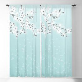 Cherry Blossoms Mint White Blackout Curtain