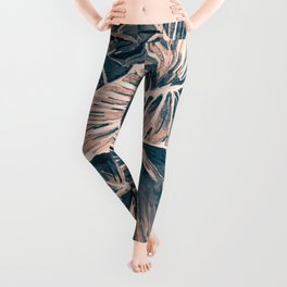 Pop Anthurium Leafs and Flowers Leggings
