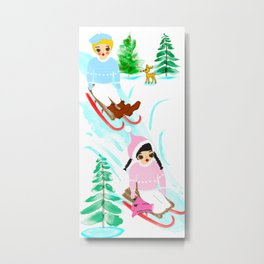 Tomboys' Toboggan Party Metal Print