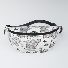 Black & White Cactus Pattern Fanny Pack