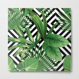 Vintage summer exotic jungle plant, tropical palm leaves. Floral vector on the black and white geometric background. Nature illustration pattern. Metal Print