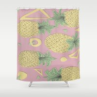 pineapples Shower Curtains featuring Pineapples by homotrippin