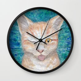 ";P ~ ""Seb the Groovy Cat"" by Amber Marine ~ Watercolor & Acrylic Painting, (Copyright 2016) Wall Clock"