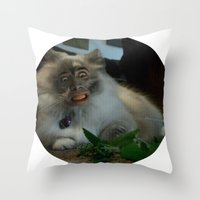 nicolas cage Throw Pillows featuring Nicolas Cage Cat Wants Nip by HiddenStash Art