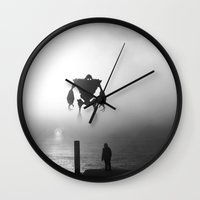 iron giant Wall Clocks featuring Iron Giant by Jonah & Cameron Cawston